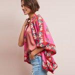 Anthropologie Pink Rae Floral Jacket Kimono