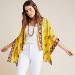 Anthropologie Rujuta Sheth Dahlia Yellow Kimono