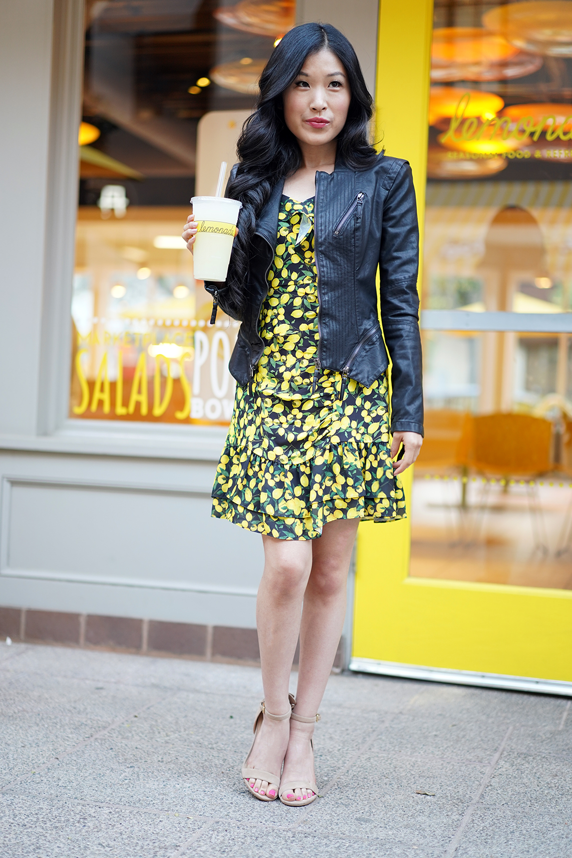 Parker Lemon Erica Dress and BLANKNYC Black Faux Leather Moto Jacket