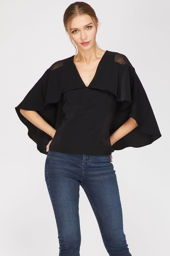 Adelyn Rae Drea Black Cape Top
