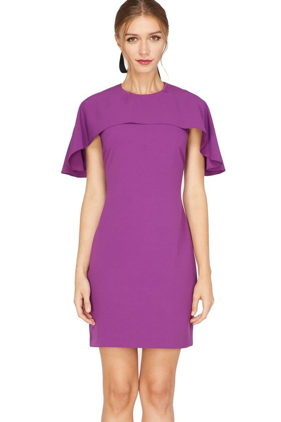 Adelyn Rae Rebecca Cape Sheath Dress in Purple