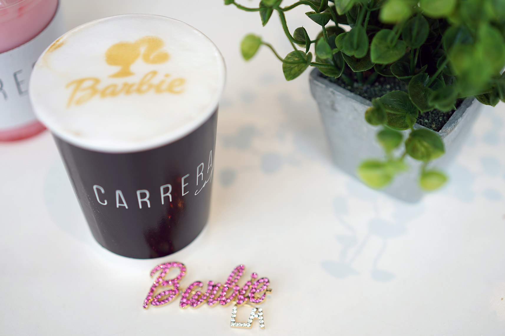 Barbie Ripple Design on a Carrera Coffee, Barbie LA crystal pin