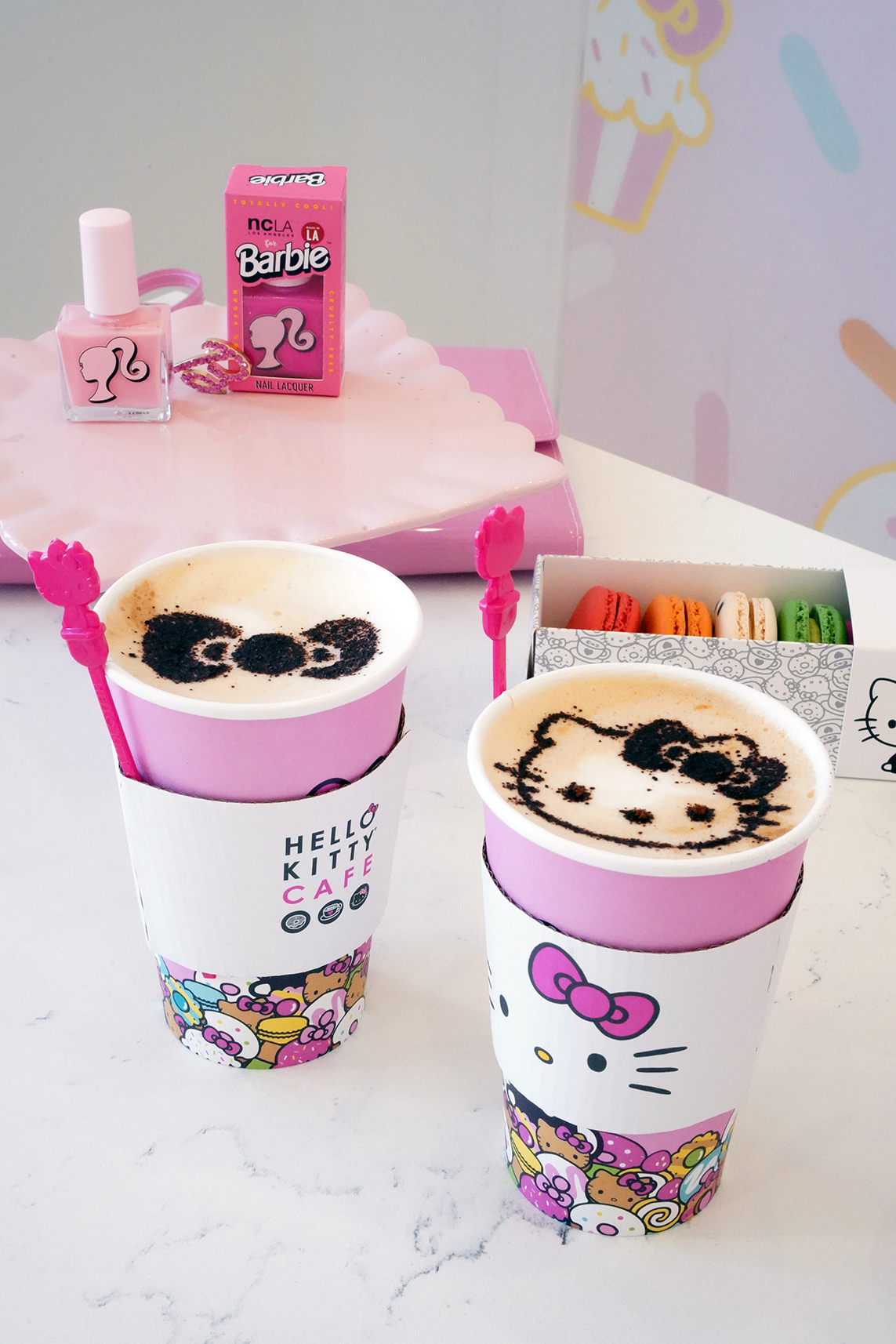 Hello Kitty Cafe Coffee with Hello Kitty Design, Gluten Free Macaroons, Barbie NCLA Pink Nail Polishes