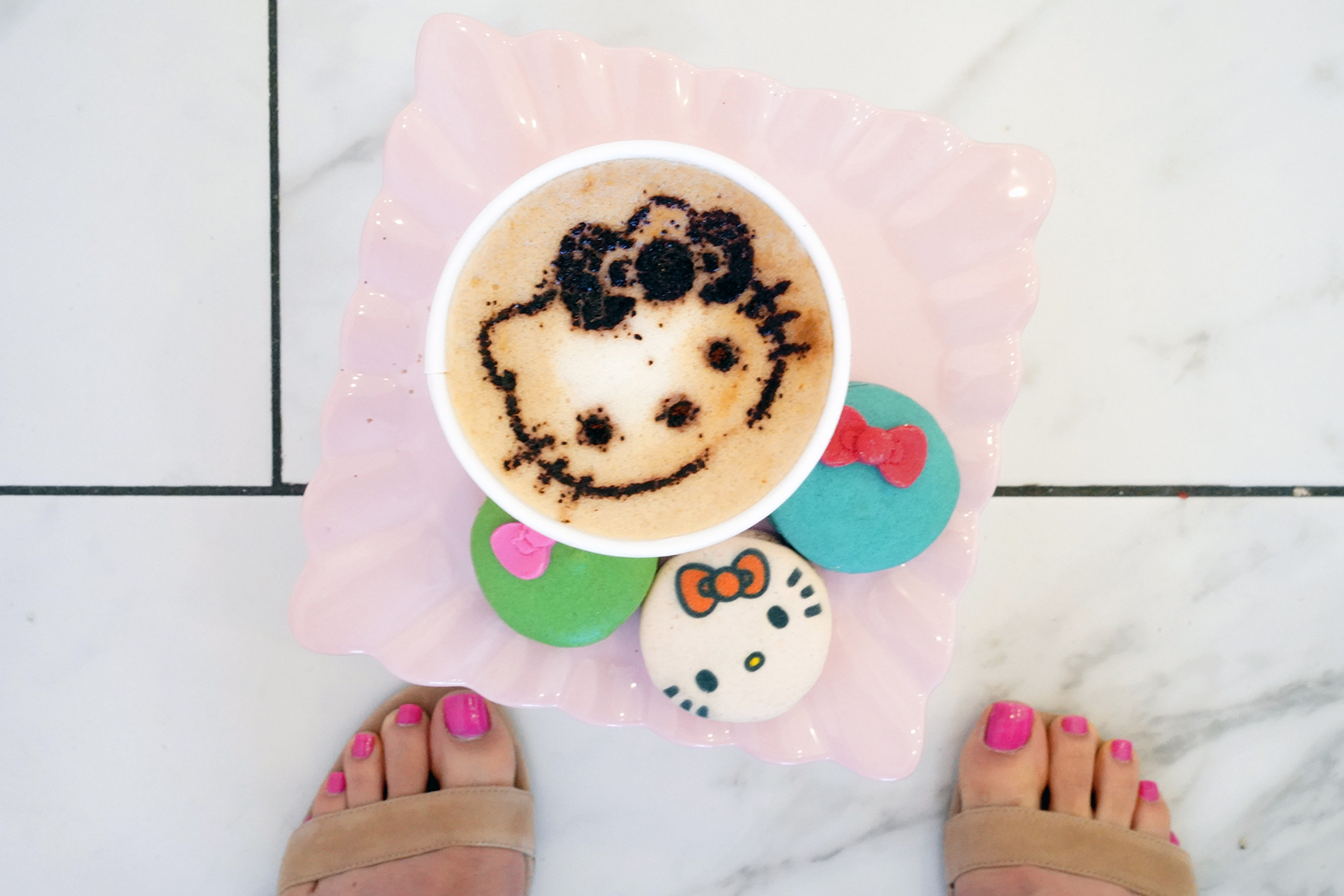 Hello Kitty Cafe Coffee with Hello Kitty design and Hello Kitty Macaroons, NCLA Pink Barbie Nail Polish on toes