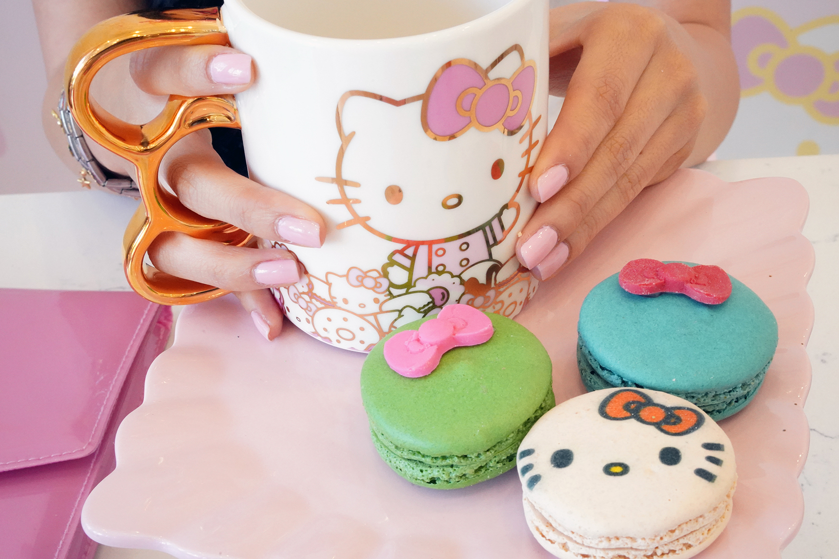 Hello Kitty Cafe Mug, Gluten-Free Hello Kitty Macaroons, NCLA Pastel Dream Pink Barbie Nail Polish