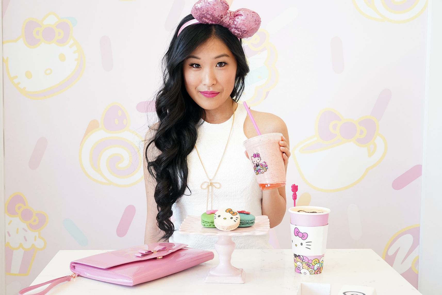 Hello Kitty Cafe in Irvine with Hello Kitty drinks, Ted Baker Pink Envelope Cersei Clutch, Hello Kitty Macaroons