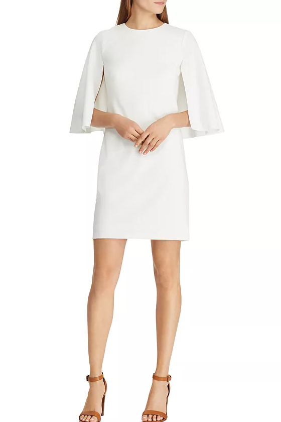 Lauren Ralph Lauren Cape Overlay Dress in Chic Cream