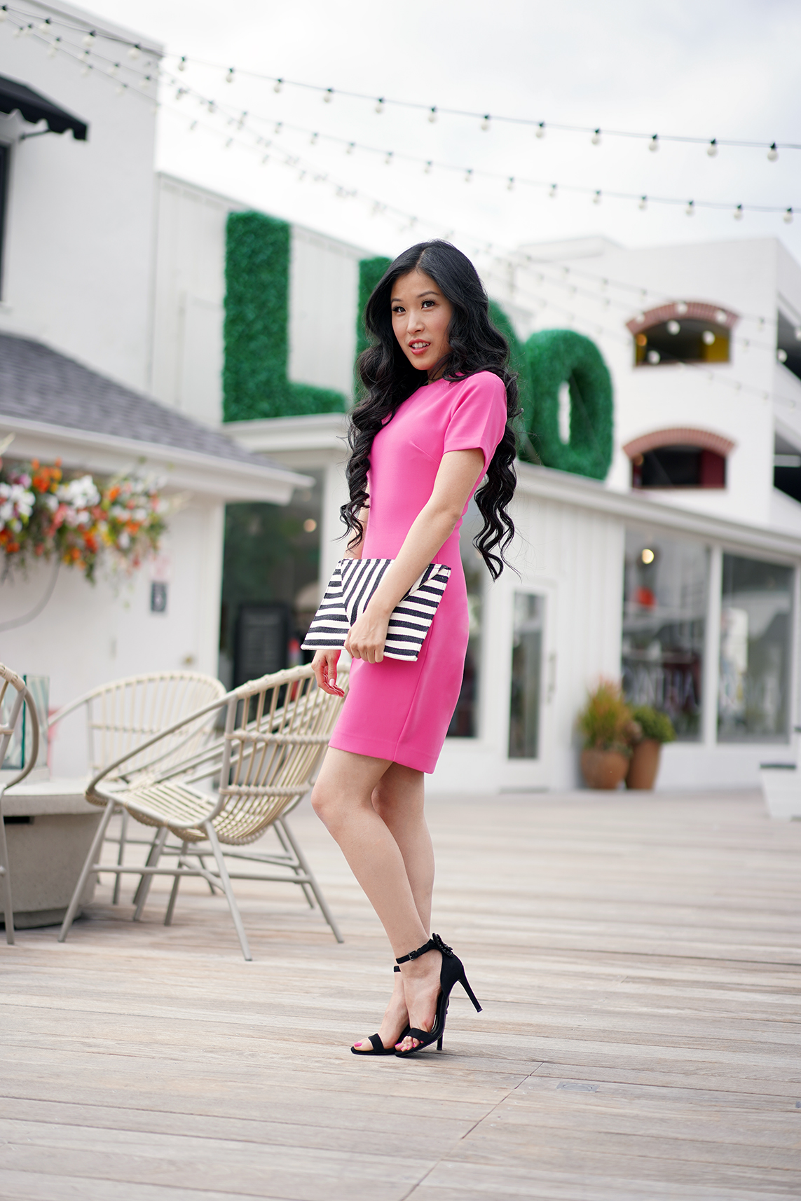 Likely Manhattan Pink Flambe Dress and Moda Luxe Black and White Stripe Clutch