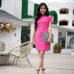 LIKELY Manhattan Dress in Pink Flambe Color, Moda Luxe Black Striped Barcelona Clutch
