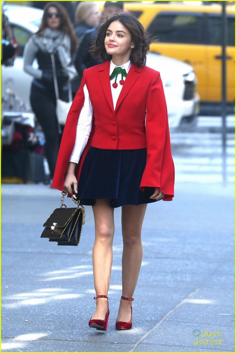 Lucy Hale Katy Kenne Set wearing red cape jacket