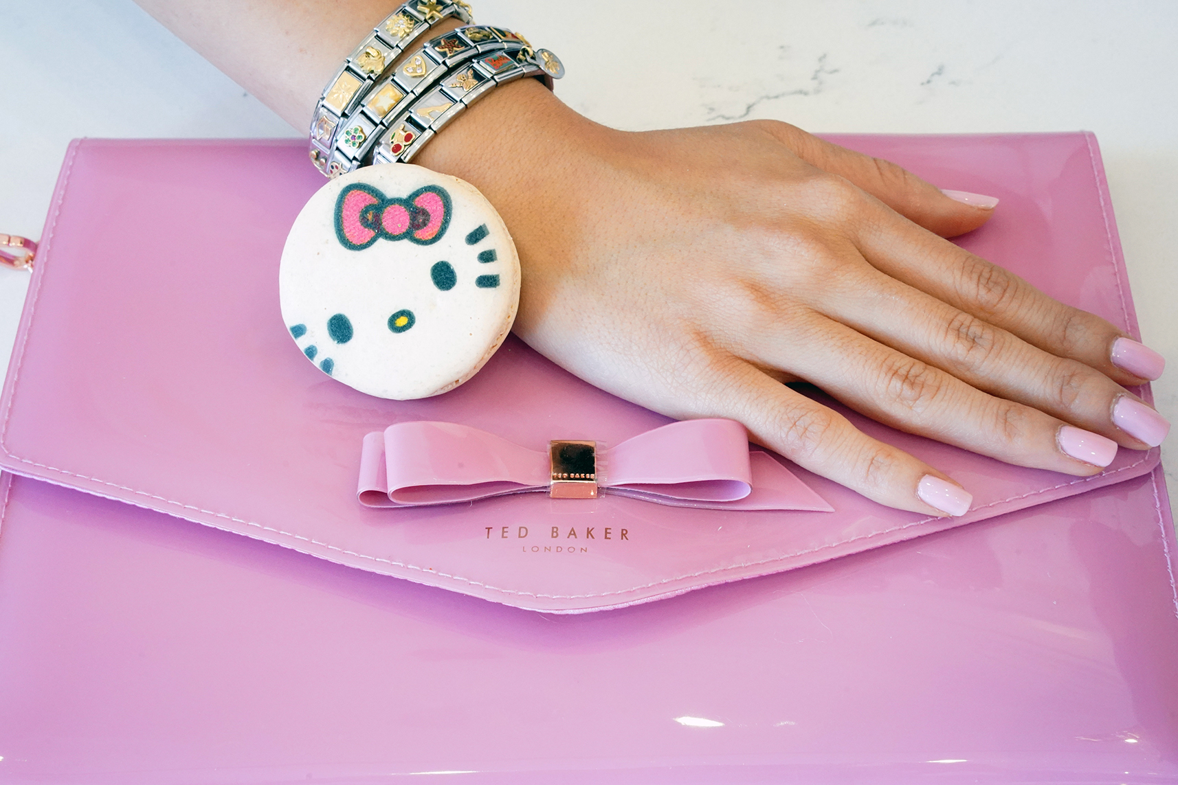 NCLA Pink Pastel Dreams Barbie Nail Polish and Ted Baker Pink Bow Envelope Cersei Clutch with Nomination Charm Bracelets