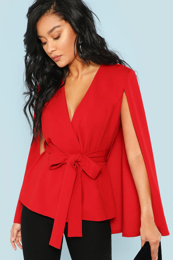 SHEIN Surplice Neck Tie Waist Cape Coat in Red