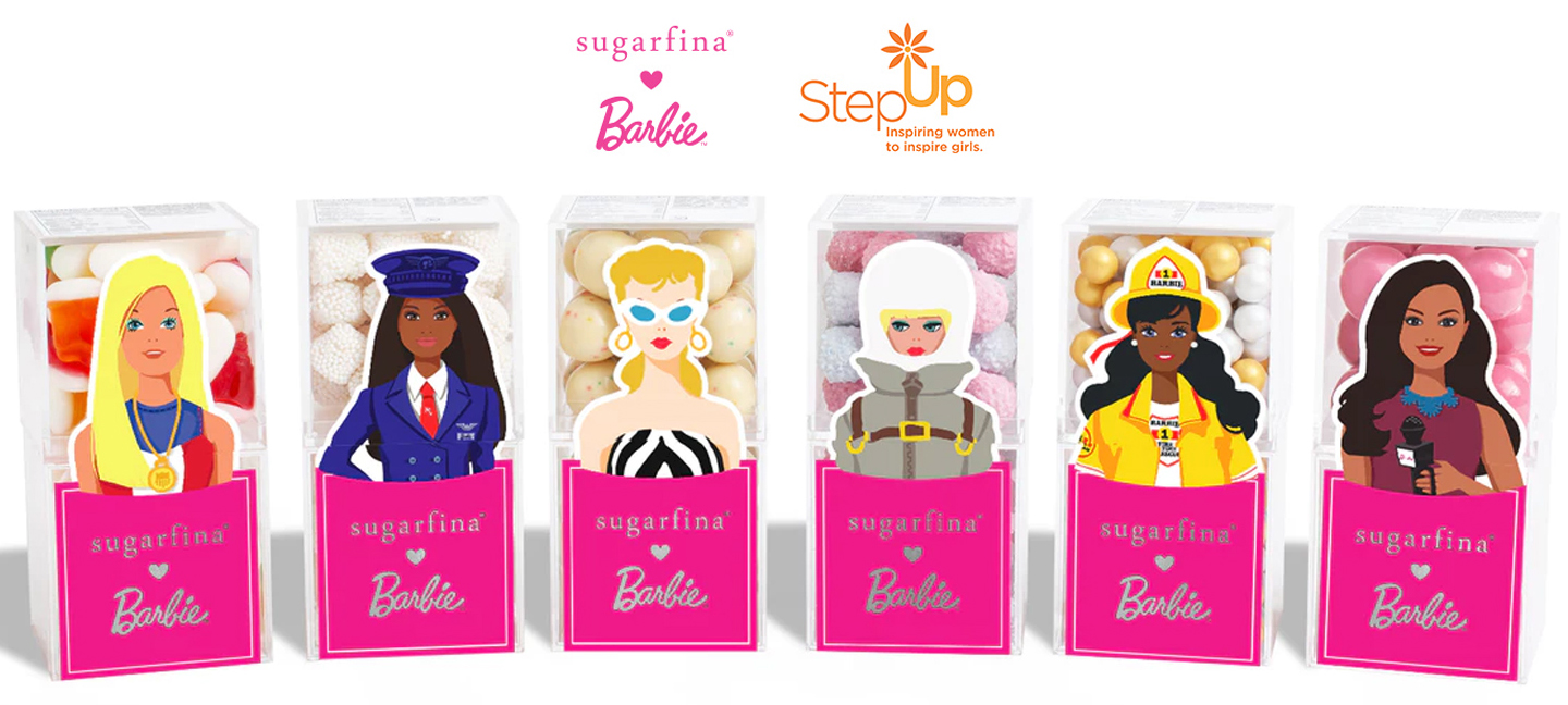 Barbie Sugarfina Candies celebrating Barbie's 60th anniversary featuring different candies with Barbie career women