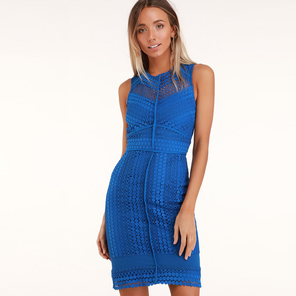 Adelyn Rae Londyn Royal Blue Lace Bodycon Dress