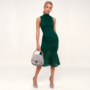 Ali & Jay All The Way Up Forest Green Lace Midi Dress
