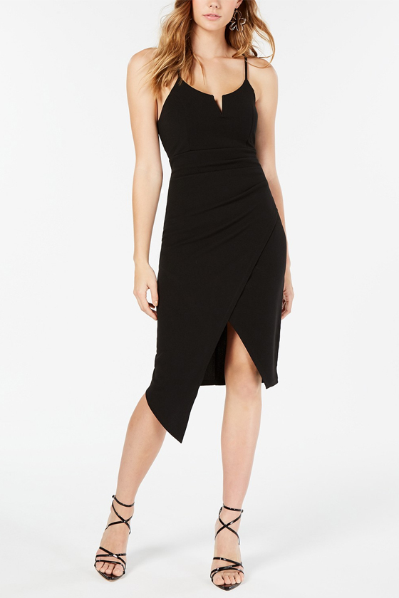 Almost Famous Juniors' Asymmetrical-Hem Bodycon Dress