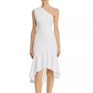Aqua One-Shoulder Ivory Dress