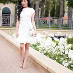 Aqua White Textured Ruffle-Hem Dress