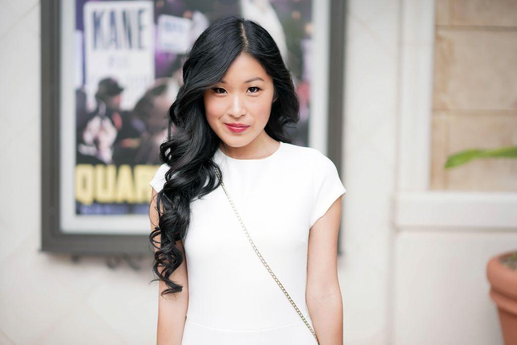 Aqua Textured Ruffle-Hem Dress in White with cap sleeves