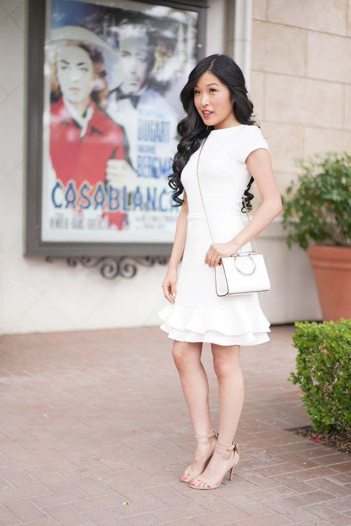 Bloomingdale's Aqua Textured Ruffle-Hem Dress in White, Kate Spade White Rick Road Mini Sam Handbag in Cement