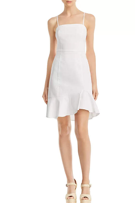 Aqua White Flounce-Hem Slip Dress