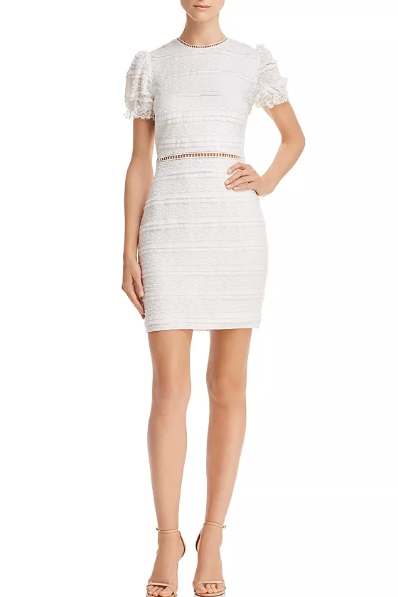 Aqua White Lace Puff-Sleeve Mini Dress