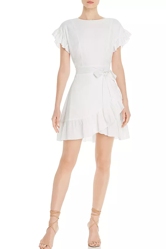 Aqua White Ruffle-Trim Tie-Waist Dress