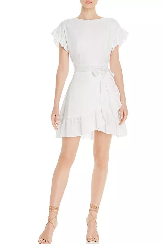 Aqua White Ruffle-Trim Tie-Waist Dress