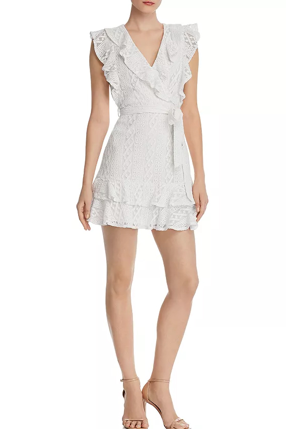 Aqua White Ruffled Lace Faux-Wrap Dress
