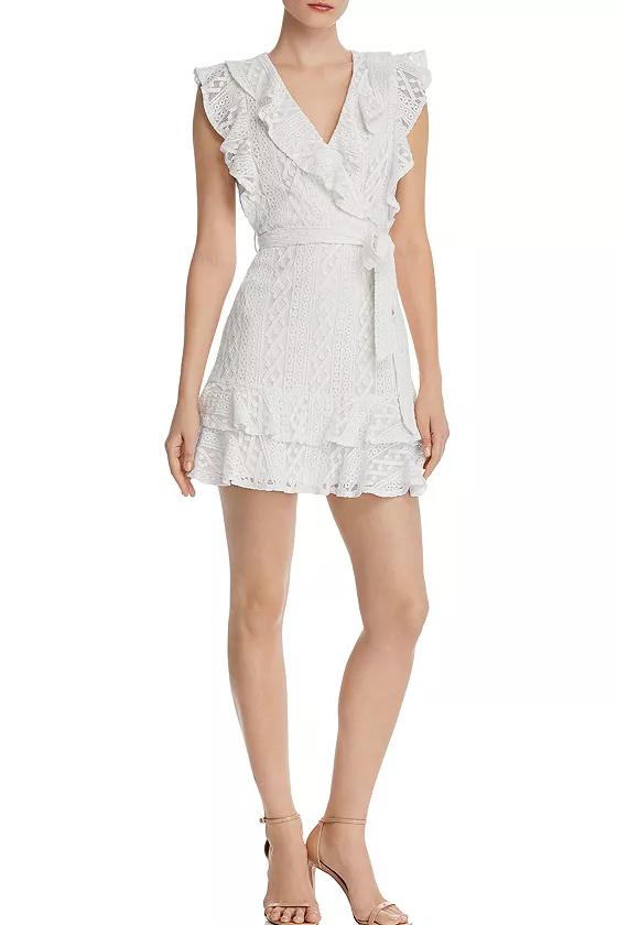 Aqua White Ruffled Lace Faux-Wrap Dress