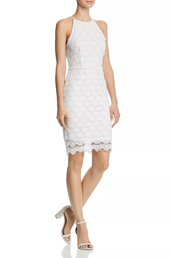 Aqua White Scalloped Lace Body-Con Dress
