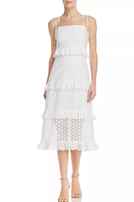 Aqua White Tiered Eyelet Midi Dress