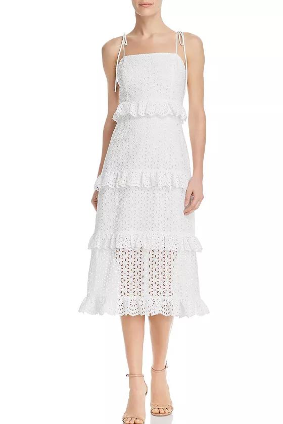 Aqua White Tiered Eyelet Midi Dress