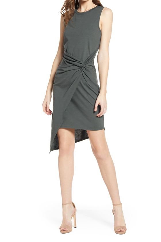 Chelsea28 Twist Front Dress in Grey Urban