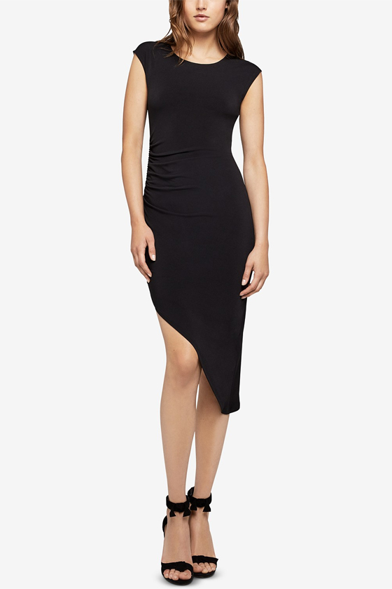 BCBG Asymmetrical Ruched Sheath Dress