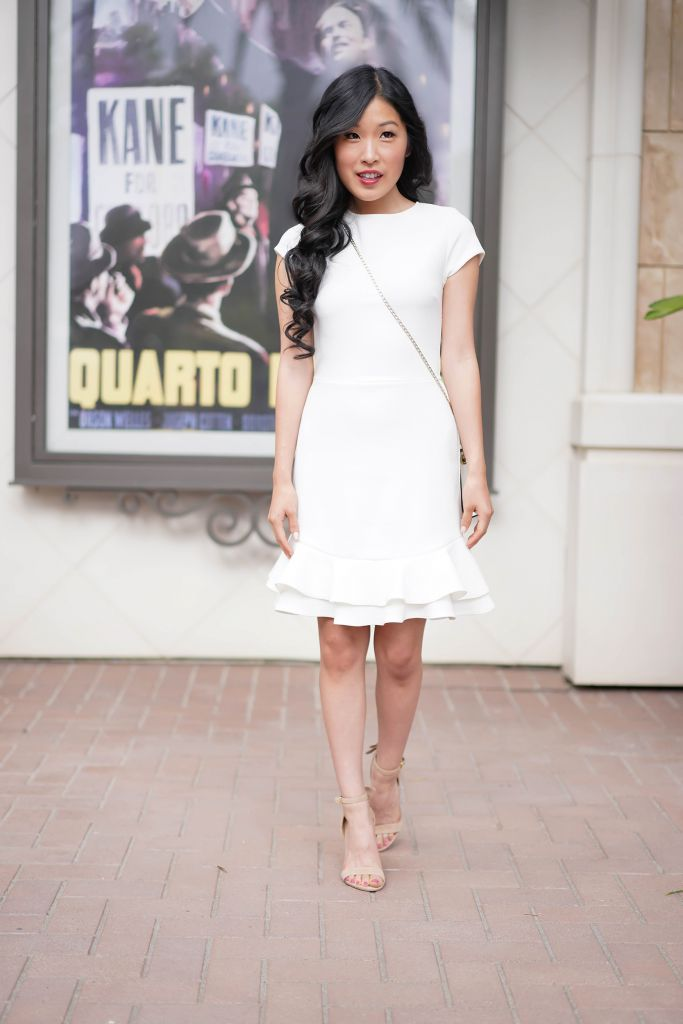 Little White Dress by Aqua with double ruffle hem and subtle pattern