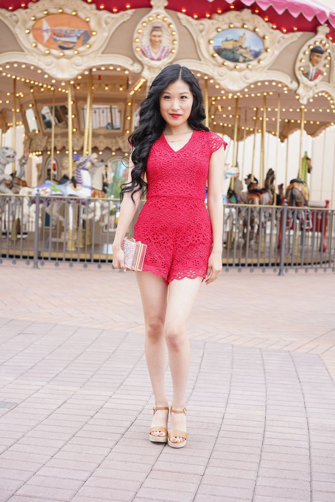 Francesca's Cassandra Crochet Red Lace Romper