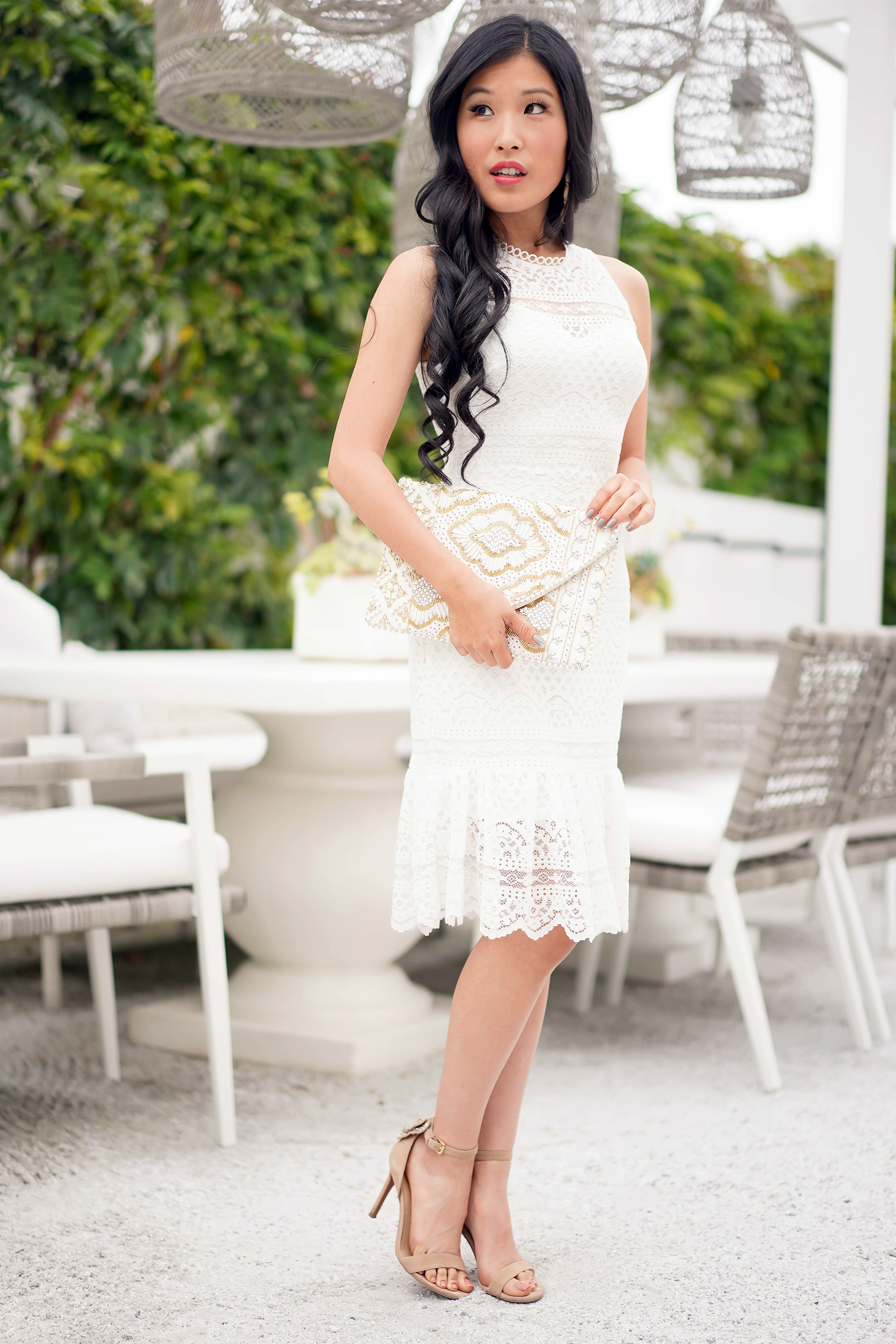 Destiny Ruffled Hem White Sheath Dress