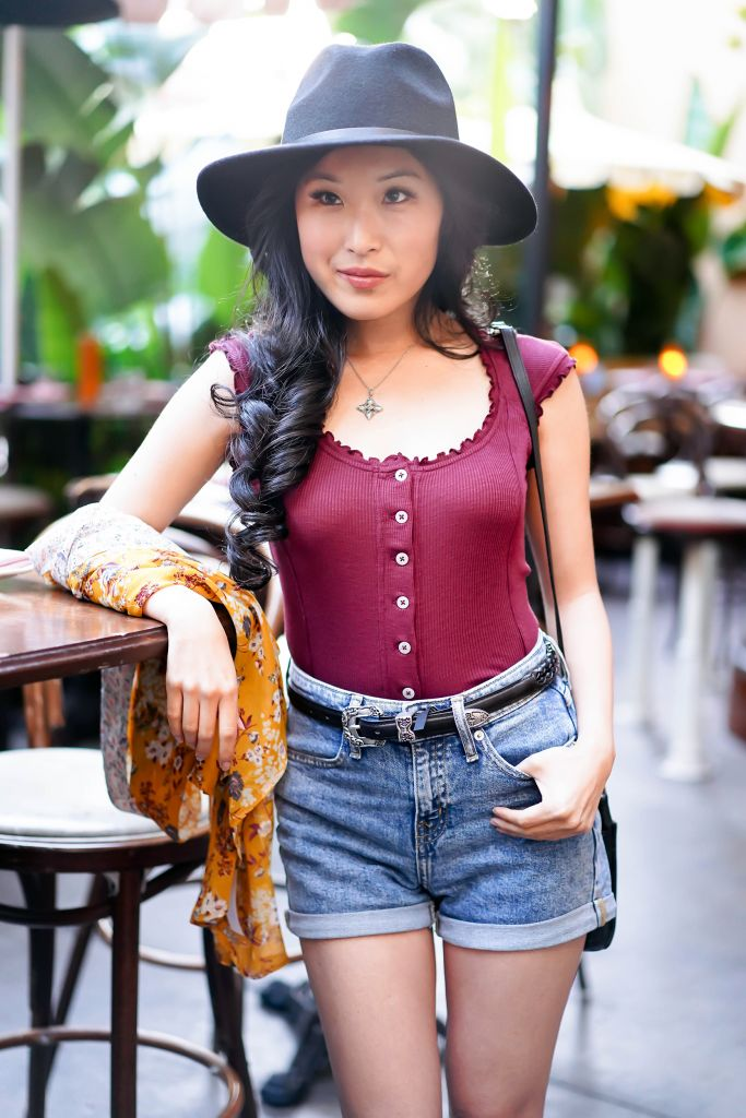 Music Festival Fashion Style Louie Louie Top and Urban Outfitters Western Belt and Wide Brim Fedora