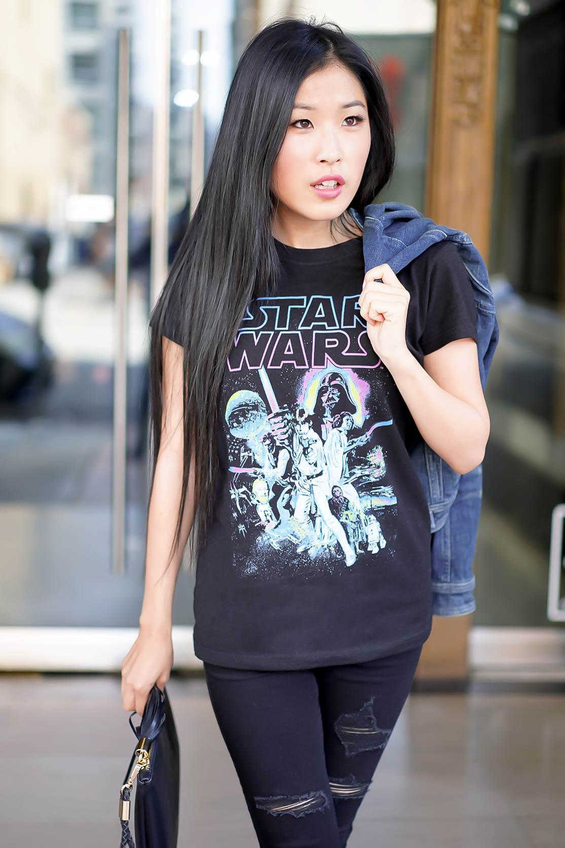 Star Wars Women's Neon Hope Poster Crew Neck Graphic T-Shirt