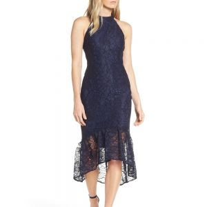 Forest Lily Lace Halter High/Low Navy Dress