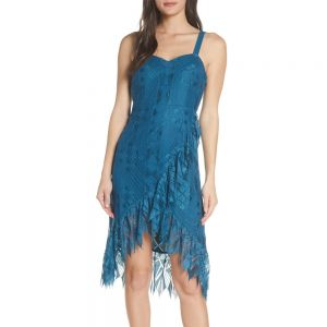 Foxiedox Lace Ruffle Sleeveless Teal Cocktail Dress