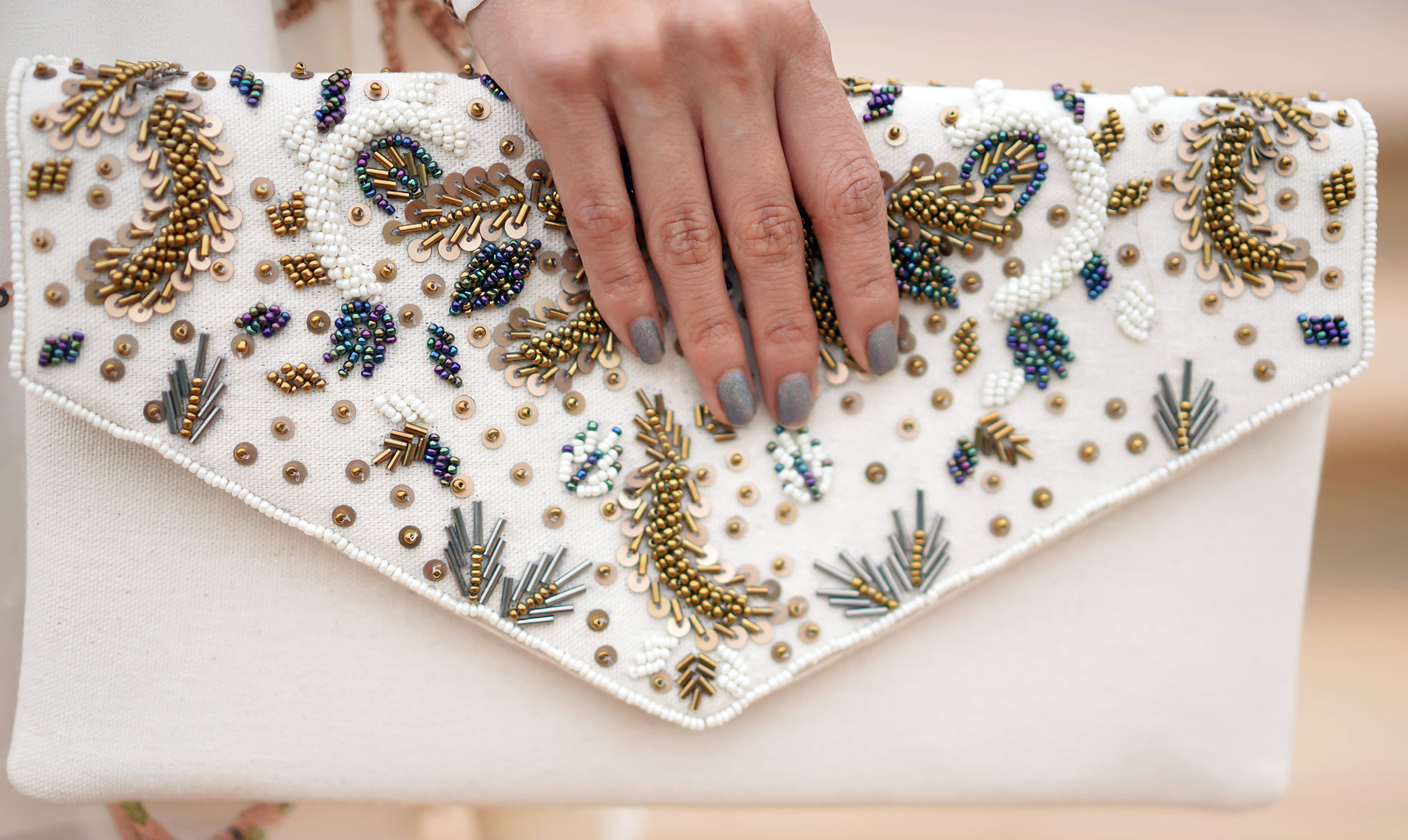 Francesca's Ariella Leaf Beaded Clutch and NCLA The Last Siren Nail Polish