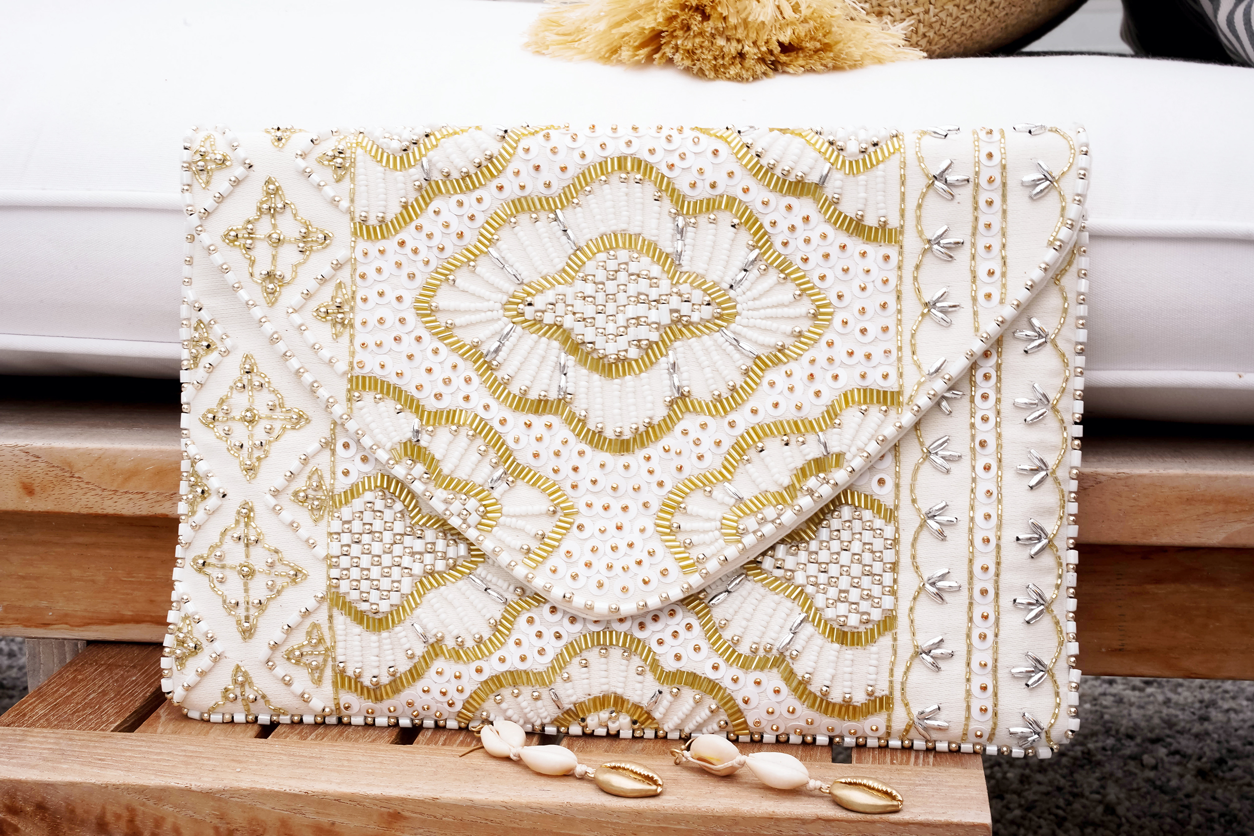 Francesca's Lyra Beaded Envelope Clutch