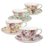 Gracie China Set of 4 Teacup and Saucer