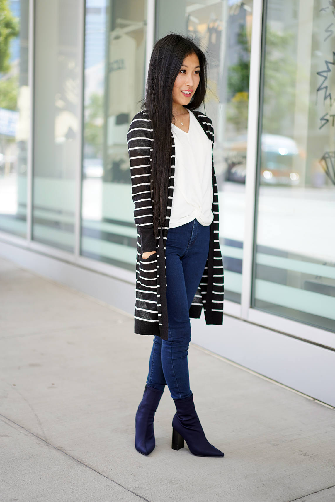 Halogen Long Linen Blend Cardigan with Black and Ivory Stripe Pattern