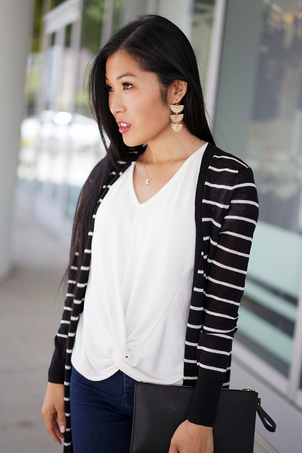 Halogen Long Linen Blend Cardigan with Black and Ivory Stripe Pattern and Giselle Fanned Linear Earrings from Francesaca's