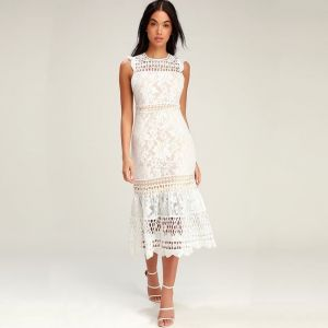 Lulu's Charlee White Lace Sleeveless Midi Dress