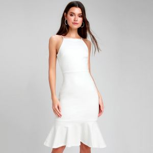 Lulus This Could Be Love White Bodycon Midi Dress
