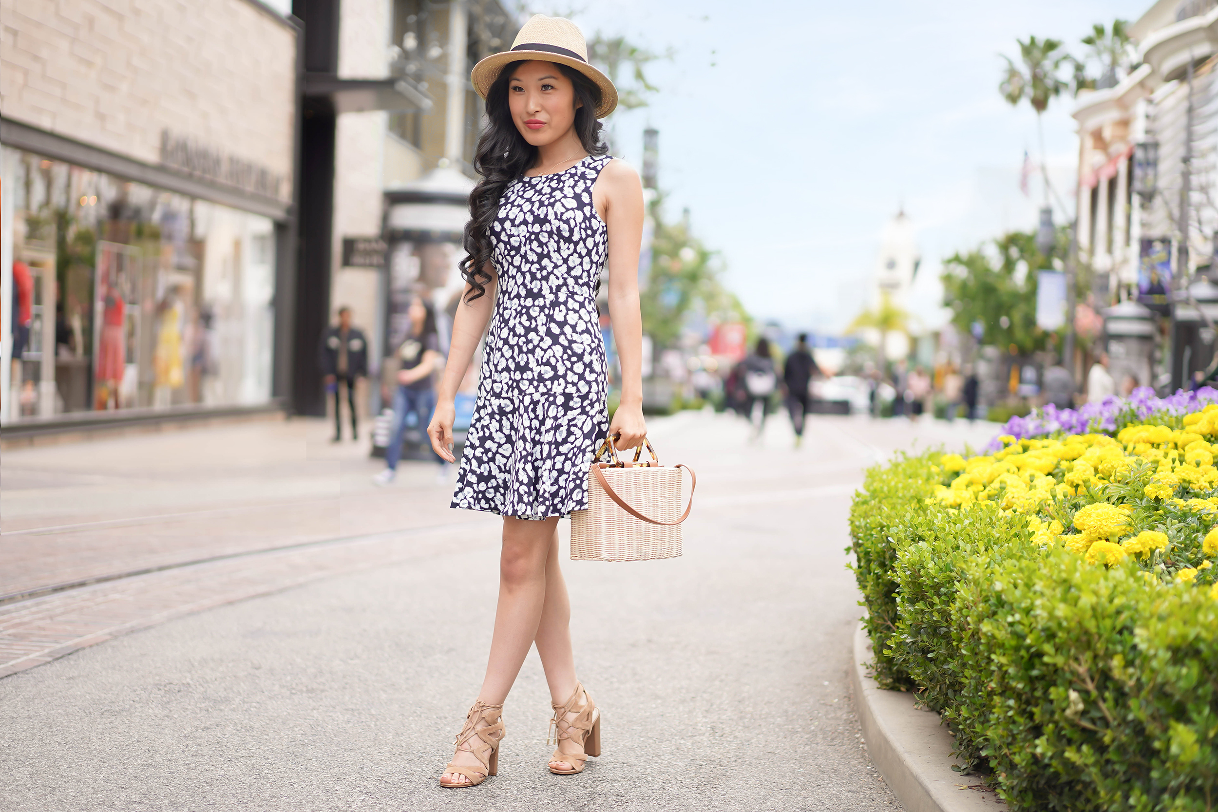 Banana Republic Petite Leopard Flounce-Hem Dress in Navy, Adjustable Straw Hat